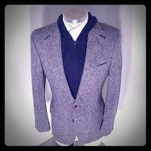 Harris Tweed Herringbone Grey Blue Green Cream